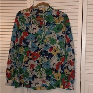 Vintage flower power tie blouse large red yellow